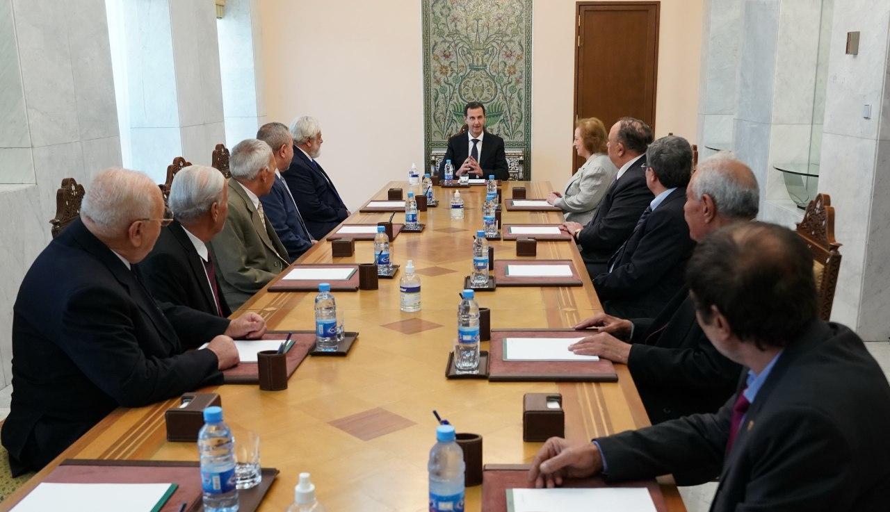 الرئيس#الأسديستقبل رئيس وأعضاء المجلس المركزي لرابطة#المحاربين_القدماءفي#سورية،