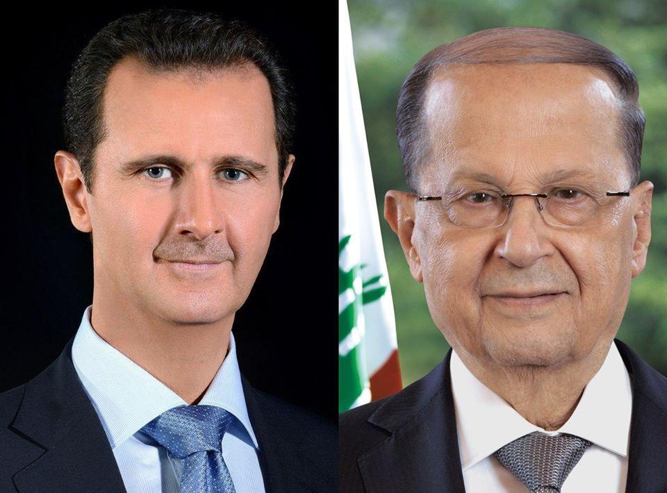 الرئيسالأسدفيبرقيهللرئيس اللبناني ميشالعون: