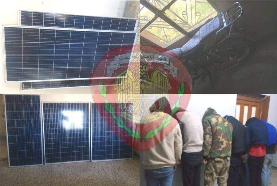 عصابة مختصة بسرقة ألواح الطاقة الشمسية بحمص في قبضة العدالة