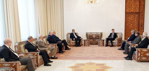 الرئيس الأسد يستقبل وفداً يضم عدداً من قادة وممثلي القوى والفصائل الفلسطينية